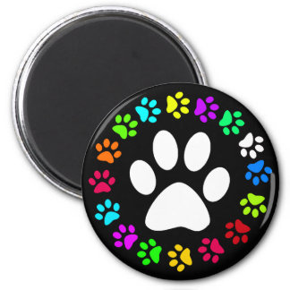COLORFUL PAW PRINTS 6 CM ROUND MAGNET