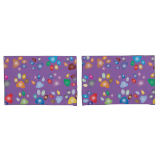 Colorful Paw Prints On Mauve Pillowcase
