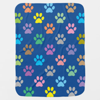 Colorful paw prints pattern baby blanket