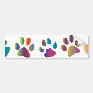 Colorful Paw Prints Pattern Bumper Sticker