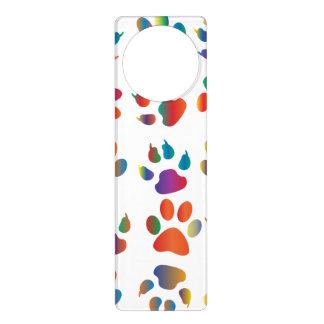 Colorful Paw Prints Pattern Door Knob Hangers