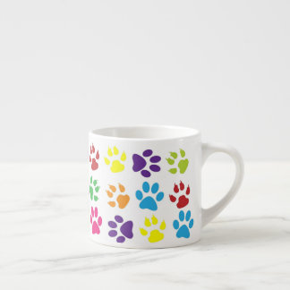 Colorful Paw Prints Pattern Espresso Cup