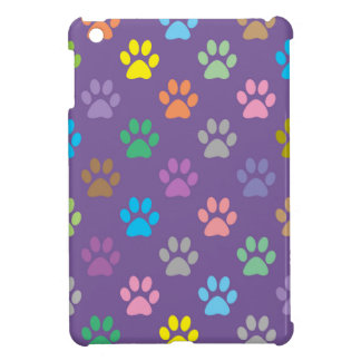 Colorful paw prints pattern iPad mini case