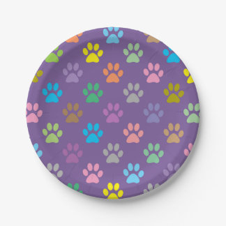 Colorful paw prints pattern paper plate