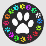 COLORFUL PAW PRINTS ROUND STICKERS