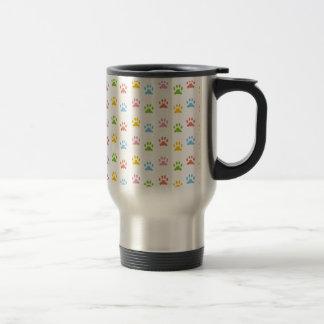 Colorful Paw Prints Travel Mug