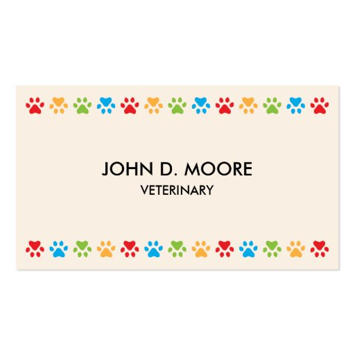Colorful paw prints veterinary or pet services business card