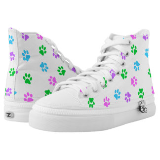 Colorful Paw Prints Zipz Unisex High Top Sneaker Printed Shoes