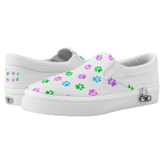 Colorful Paw Prints Zipz Unisex Slip On Sneaker Printed Shoes