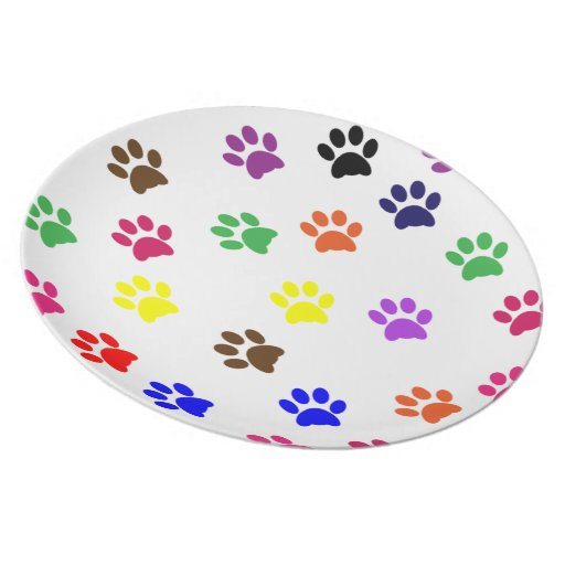 Colorful pawprint pet cat food plate or dish gift