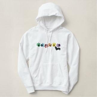Colorful Pawprints Corgi Embroidered Hoodie