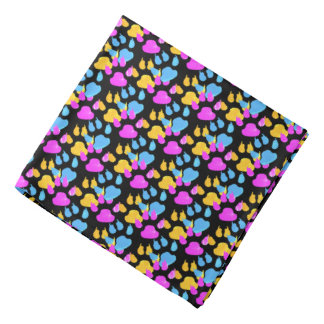 Colorful Paws and Claws Puppy Bandana