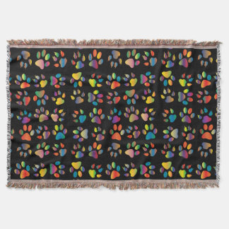 Colorful Paws Throw Blanket