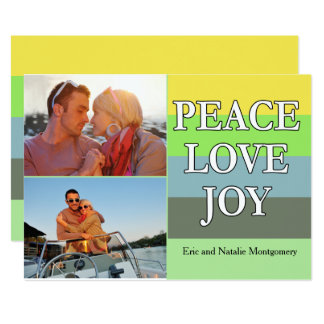 Colorful Peace Love and Joy Christmas Card 13 Cm X 18 Cm Invitation Card
