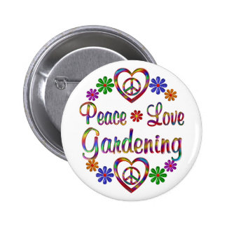 Colorful Peace Love Gardening Pinback Button