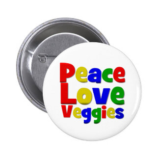 Colorful Peace Love Veggies Buttons