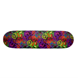 COLORFUL PEACE SIGN COLLAGE SKATE DECK