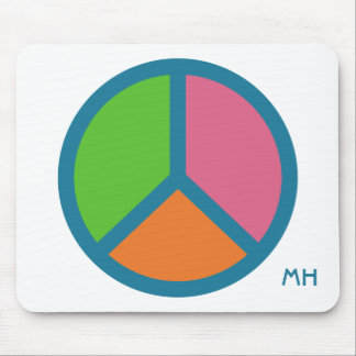 Colorful Peace Sign custom monogram mousepad