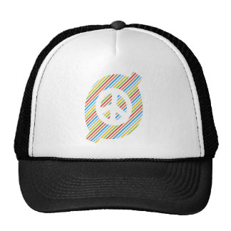 colorful peace sign mesh hat