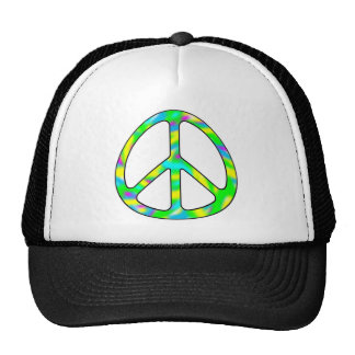 colorful peace sign hats