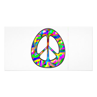 colorful peace sign personalized photo card
