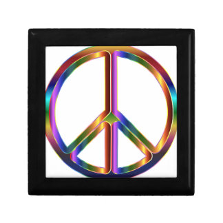 Colorful Peace Sign Small Square Gift Box