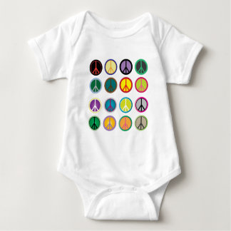 Colorful Peace Signs - Peace Sign pattern Baby Bodysuit
