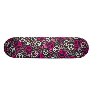 Colorful Peace Signs Skateboard - Pink/Black