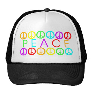 Colorful PEACE w/peace signs Cap