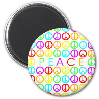 Colorful PEACE w/peace signs round 6 Cm Round Magnet