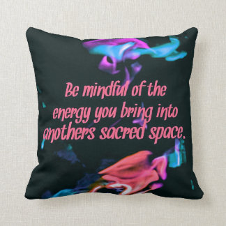 Colorful Peach Flames Energy Sacred Spaces Quote Cushion