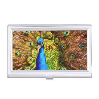 Colorful Peacock Business Card Holder