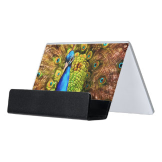 Colorful Peacock Desk Business Card Holder