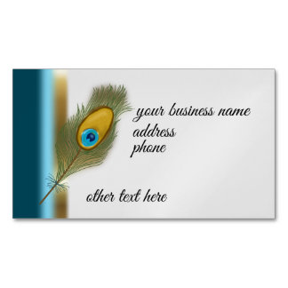 Colorful Peacock Feather and Blue and Gold Band Magnetic Business Card