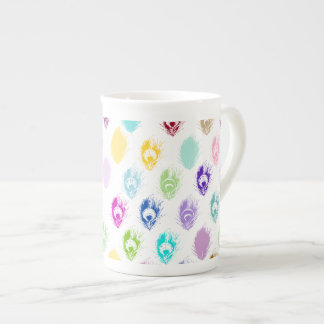Colorful Peacock feather print Tea Cup
