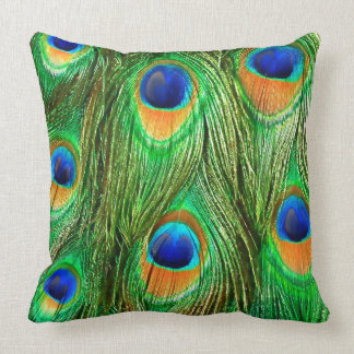Colorful Peacock Feathers Print Cushion
