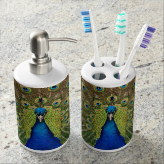 Colorful peacock print bathroom set