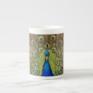 Colorful peacock print tea cup