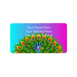 Colorful Peacock Rainbow Colors Bird Psychedelic Label