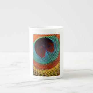 Colorful Peacock Tail Tea Cup
