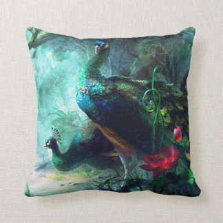 Colorful peacocks in misty forest Throw Pillow