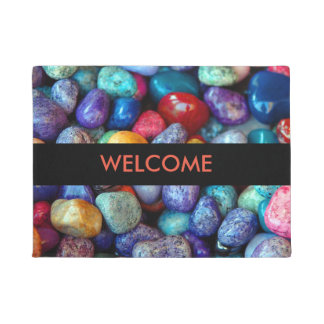 Colorful Pebbles and Stones Welcome Door Mat