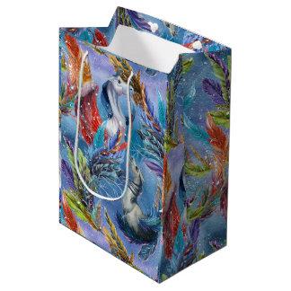 Colorful Pegasus & Feathers Illustration Pattern Medium Gift Bag