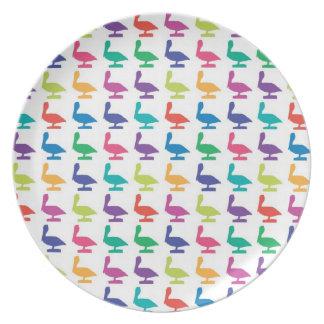 colorful pelicanes plate