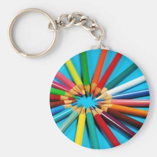 Colorful pencil crayons pattern key ring