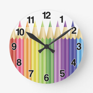 Colorful Pencils In A Row Round Clock