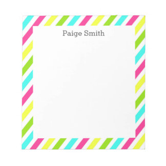 Colorful Personalized Neon Stripes Notepad