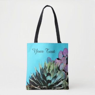 Colorful Personalized Tote, Agave & Cactus Tote Bag