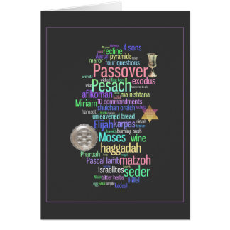 Colorful Pesach Words and Symbols Card