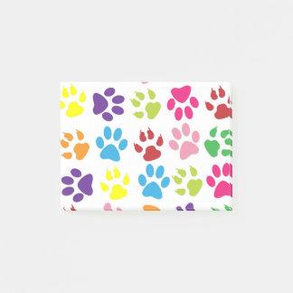 Colorful Pet Pawprints Design Post-It Notes
